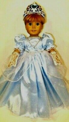 "BLUE CINDERELLA PRINCESS DRESS, GLOVES, CROWN fits 18"" AMERICAN GIRL"