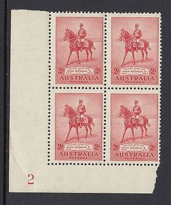 1935 2d SILVER JUBILEE, Plate number 2 block of 4, Mint Never Hinged