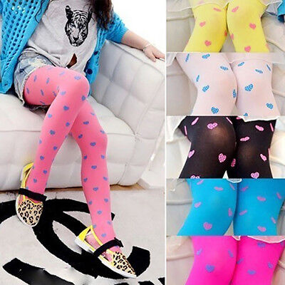 Toddler Kid Girls Candy Color Cute Dotted Heart Pattern Pantyhose Tights Sanwood