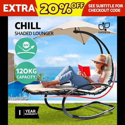 Outdoor Rocking Lounge Arm Chair Canopy Garden Hanging Chaise Bed Steel Beige