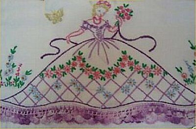 Vintage Southern Belle Transfer Pillowcases PATTERN Embroidered Scrafs Linens