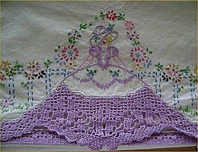 Vintage Southern Belle Transfer Pillowcases PATTERN Embroidered & Crocheted Work