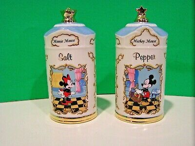 LENOX Disney MICKEY & MINNIE SALT & PEPPER set NEW in BOX mouse spice canister