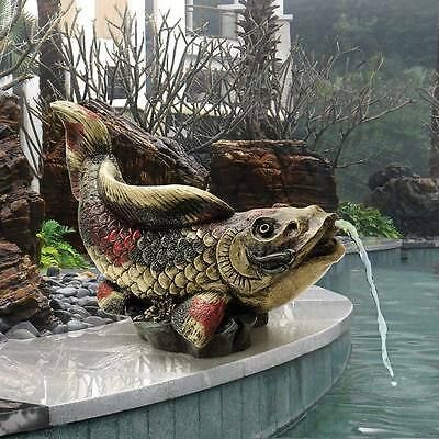 Design Toscano Exclusive Hand Painted ©Showa Asian Koi Piped Spitter Statue
