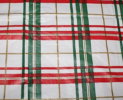 Vintage 52 x 52 White Vinyl Christmas Tablecloth Flannel Back Red Green Plaid