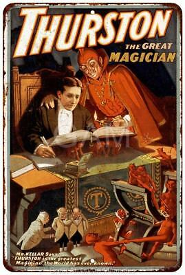 Thurston the GREAT Magician Vintage Look Reproduction Metal Sign 8 x 12 8120199