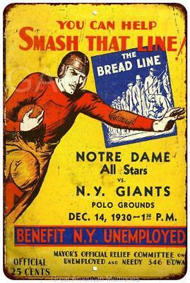 1930 Notre Dame Allstars vs NY Giants Vintage Reproduction 8x12 Sign 8120864