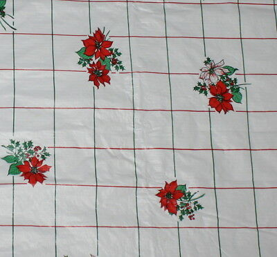 Vintage 52 x 52 White Vinyl Christmas Tablecloth Flannel Back Red Poinsettias