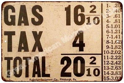 Gas, Tax, Total Sign Vintage Look Reproduction Metal Sign 8x12 8122620