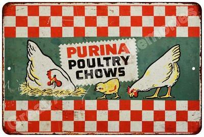Purina Poultry Chows Vintage Look Reproduction Metal Sign 8x12 8122691