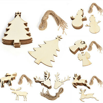 10Pcs Christmas Wood Ornament DIY Xmas Tree Hanging Pendant Decoration Gifts