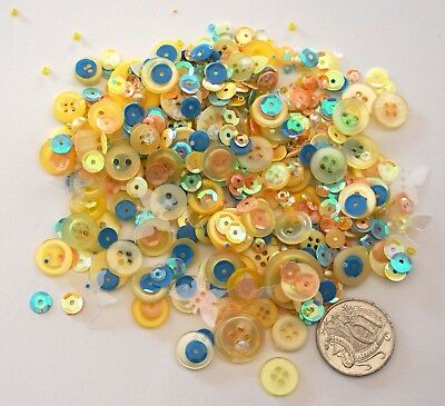 Embellishments 13 -100+ Pack Yellow Tone Buttons Beads Sequins-  Scrapbooking