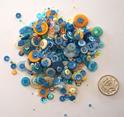 Embellishments 14 -100+ Pack Blue Tone Buttons Beads Sequins-  Scrapbooking