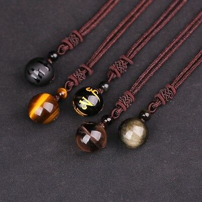 Natural Stone Crystal Rainbow Eye Beads Ball Pendant Transfer Love Luck Neclace