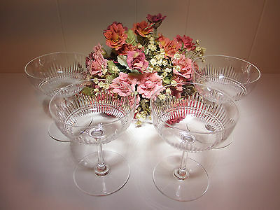 4 EXQUISITE Vintage Antique CUT CRYSTAL CHAMPAGNE STEMS GLASSES ~ Lovely Chime
