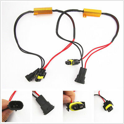 2x H11 LED DRL Fog Light Canbus 50W 6Ohm Load Resistor Wiring Canceller Decoder