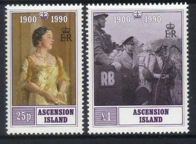 ASCENSION 1990 90th BIRTHDAY QUEEN MOTHER M/M SET OF 2