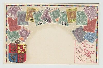 Straits Settlements Old Postcard Stamps Map !!