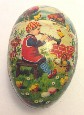 Easter Egg Germany Paper Papier Mache Vintage Little Boy Playing Trumpet #11
