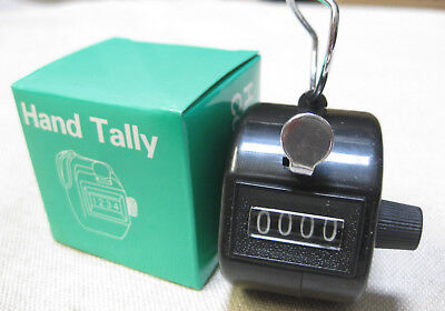Hand Held Tally Counter Clicker Black 0-9999 Palm 4 Digit Counting Number Club