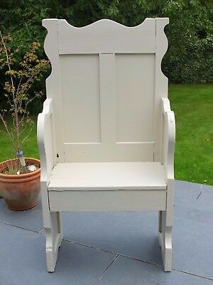 Monks Bench/settle/hall Seat/single Wooden Pew In Farrow & Ball Old White