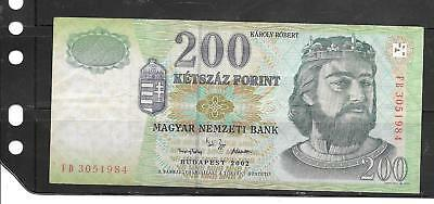 HUNGARY #187b 2002 VG CIRC 200 FORINT BANKNOTE PAPER MONEY CURRENCY BILL NOTE