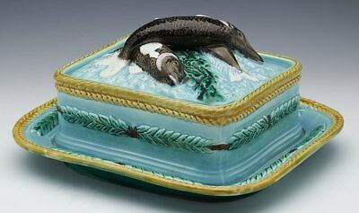 Antique English Majolica Sardine Dish With Fish And Leaves C.1865