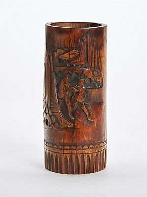 Antique Chinese Figural Carved Bamboo Brush Pot 19Th C.