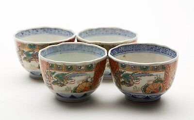 Four Antique Oriental Imari Pattern Tea Bowls 19Th C.