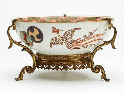 Japanese Arita Meiji Ormolu Mounted Porcelain Bowl 19Th C.
