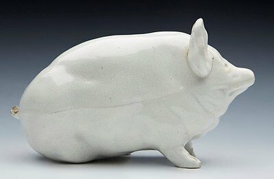 ANTIQUE SCOTTISH WEMYSS WHITE GLAZED PIG c.1900