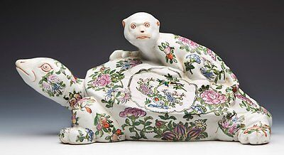 Oriental Famille Rose Monkey & Turtle Figure 19/20Th C.
