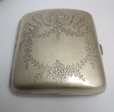 Beautiful Large Heavy English Antique 1916 Solid Sterling Silver Cigarette Case