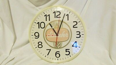 """Schaefer Beer Wall Clock 12"""" Battery Operated For Repair or Parts"""
