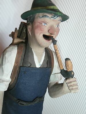 "folk art  Erzgebirge Germany 11 1/4"" wood carved  handmade  lumberjack SMOKER"