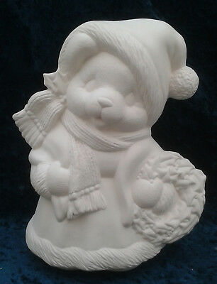 """Paint Your Own Ceramic Bisque - Girl Santa Bear - approx 8½"""" tall"""