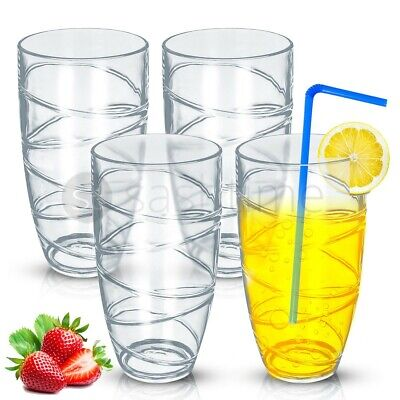 4 x DELUXE SWIRL PLASTIC ACRYLIC TUMBLERS GLASSES HI BALL GLASS PARTY PICNIC BBQ