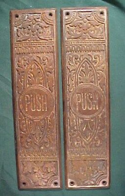 Two Antique Vintage Brass Plated Cast Iron Ornate Door Push Plates Door Hardware