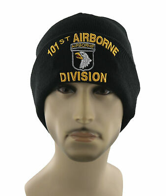 New! Us Army 101St Arborne Division Eagle Beanie Cap Hat Black