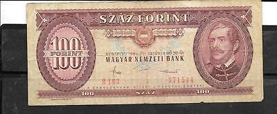 HUNGARY #171g 1984 VG CIRC 100 FORINT BANKNOTE PAPER MONEY CURRENCY BILL NOTE