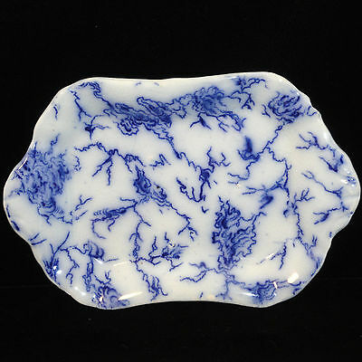 Staffordshire Childs Miniature FLOW BLUE Tray MARBLE LAZULI 1830 Dimmock