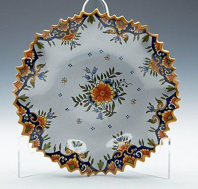 ANTIQUE CONTINENTAL FAIENCE FLORAL SHALLOW BOWL c.1900
