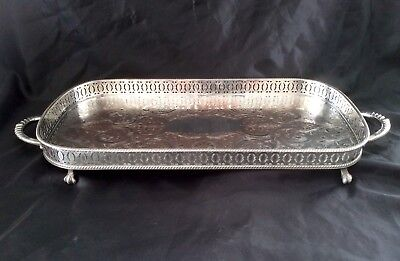 "Fine Quality 23"" Sheffield Silver On Copper Footed Gallery Tray Claw Feet C.1910"