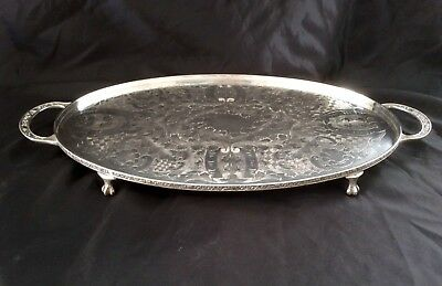 Fine VINERS Of Sheffield Chased Silver Plated Butler Tray Bird Claw Feet C.1930