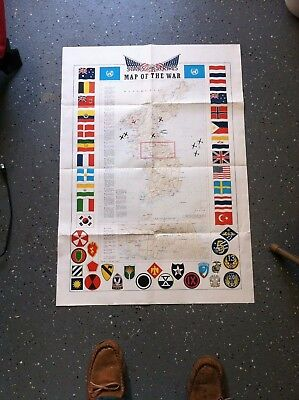 """vintage 1953 map of the war in korea - color 24"""" x 35"""""""