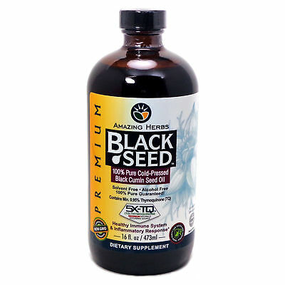 Amazing Herbs Cold-pressed Black Cumin Seed Oil For Immunity 16oz New & Sealed