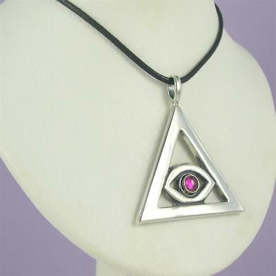 MEN'S EYE OF HORUS Silver Pendant with Gem Choice Necklace EGYPTIAN
