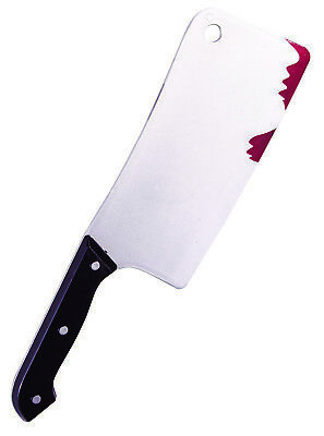 Adult Zombie Cleaver With Fresh Blood Drips Halloween Costume Accessory Prop