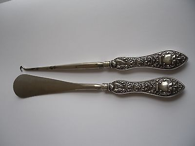 large antique sterling silver shoe horn and button hook