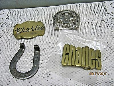 "Lot of 4 Vintage ""Charlie"" ""Charles""  Brass BELT BUCKLES Horse shoe Coin holder"